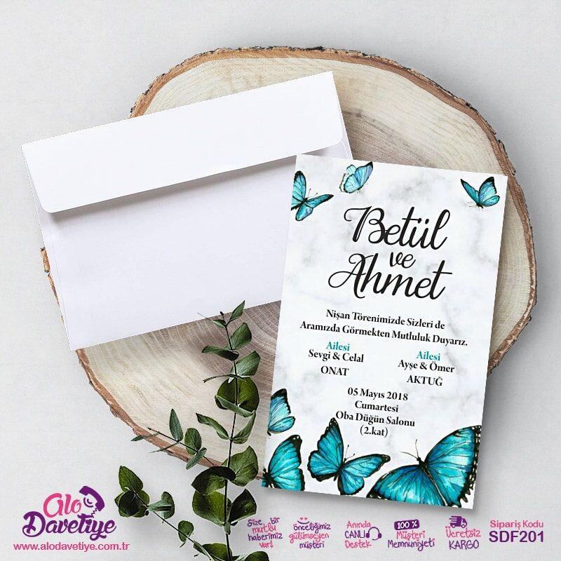 yesil kelebekli davetiye