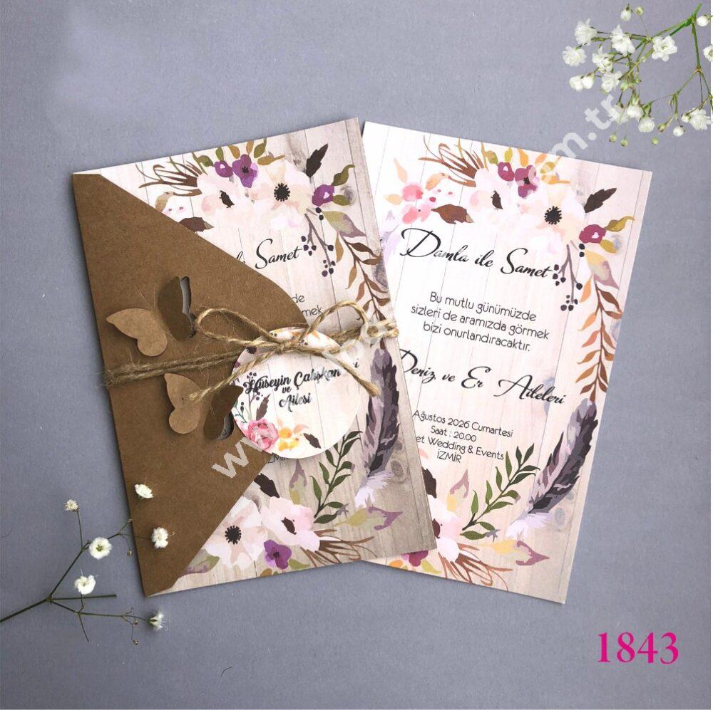 Düğün Davetiyesi Kraft Kelebek (2)