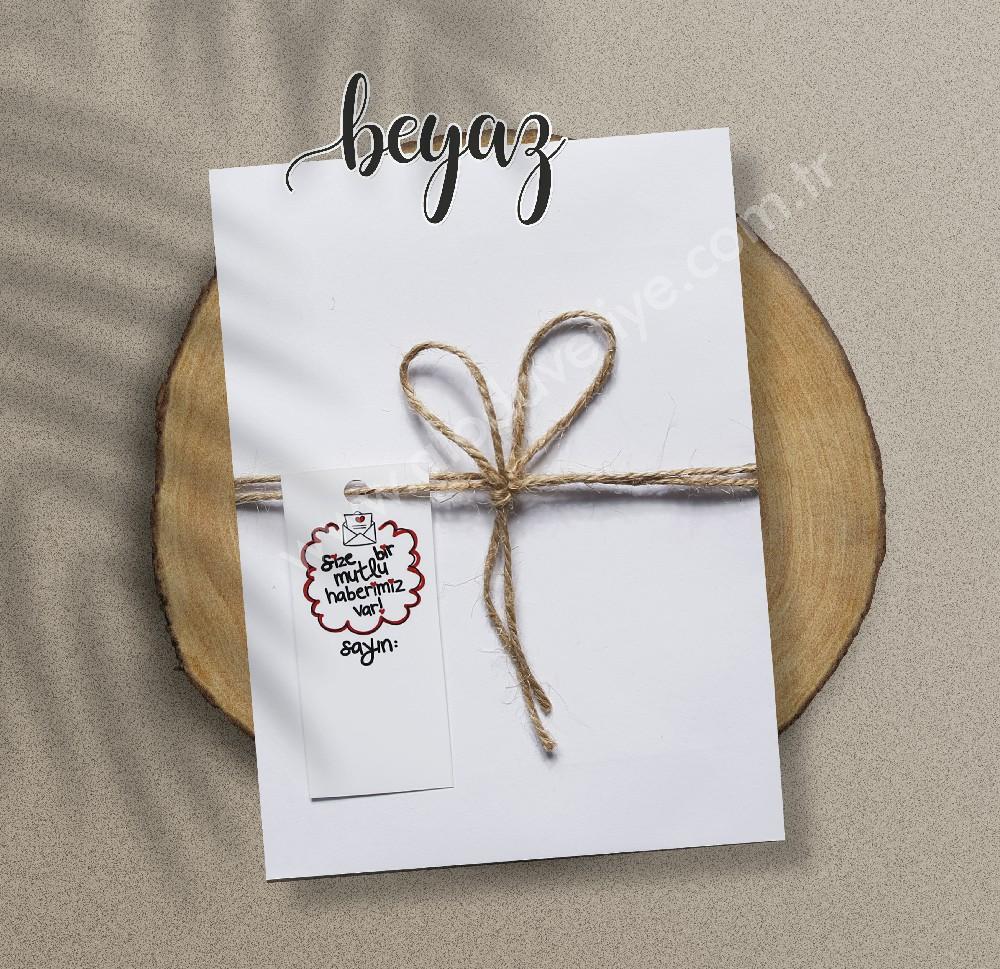 beyaz ipli davetiye zarfı