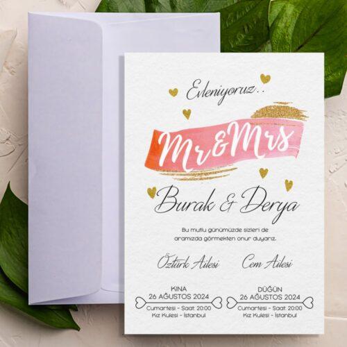 Sarı Kalp Sade Düğün Davetiyesi