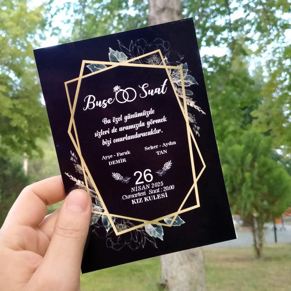 Siyah düğün davetiyesi