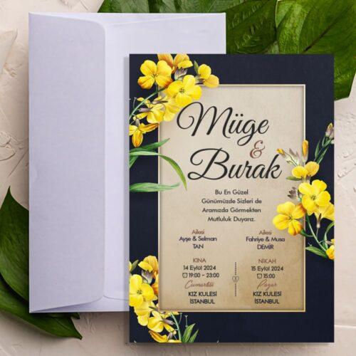 Siyah kenarlı sarı çiçekli davetiye