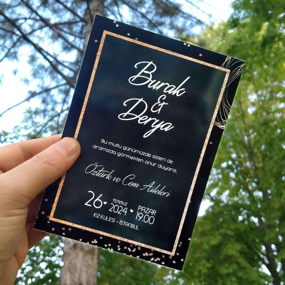 Siyah Düğün Davetiyesi Sdf 444