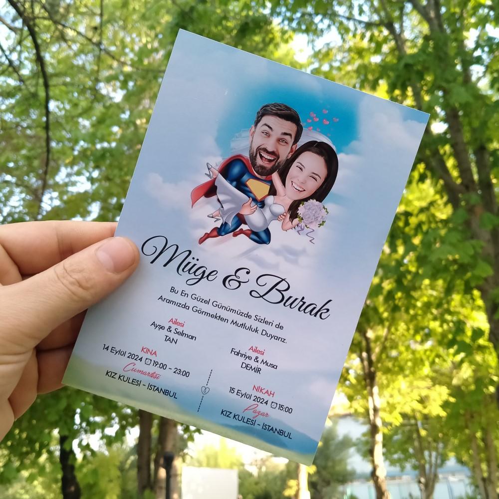 Süpermen Karikatür Düğün Davetiyesi