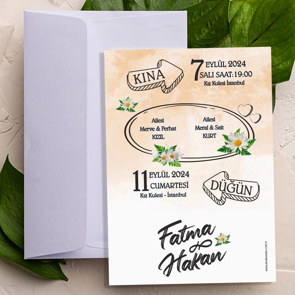 Vosvos Düğün Davetiyesi Çift Yön Baskı