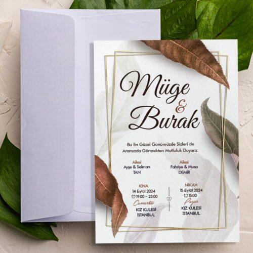 Yapraklı düğün nişan davetiye modeli
