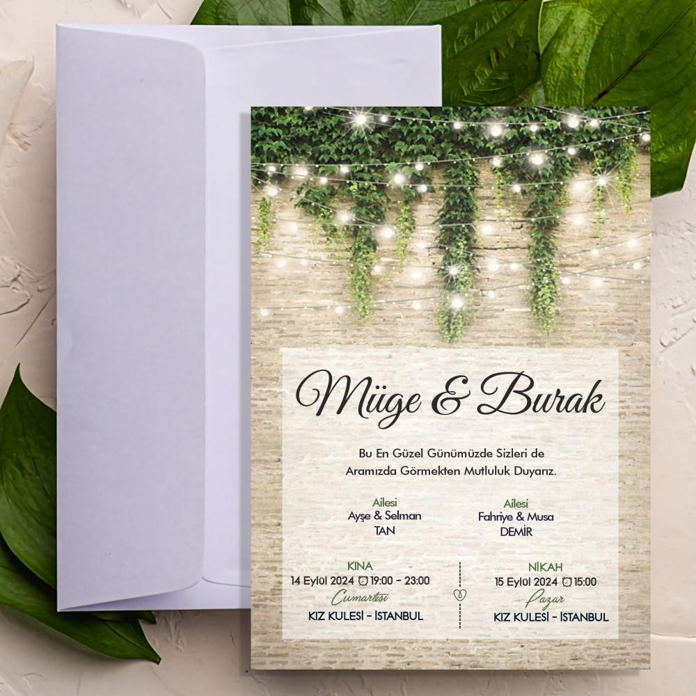 Yeşil Salkım Düğün Nişan Davetiyesi