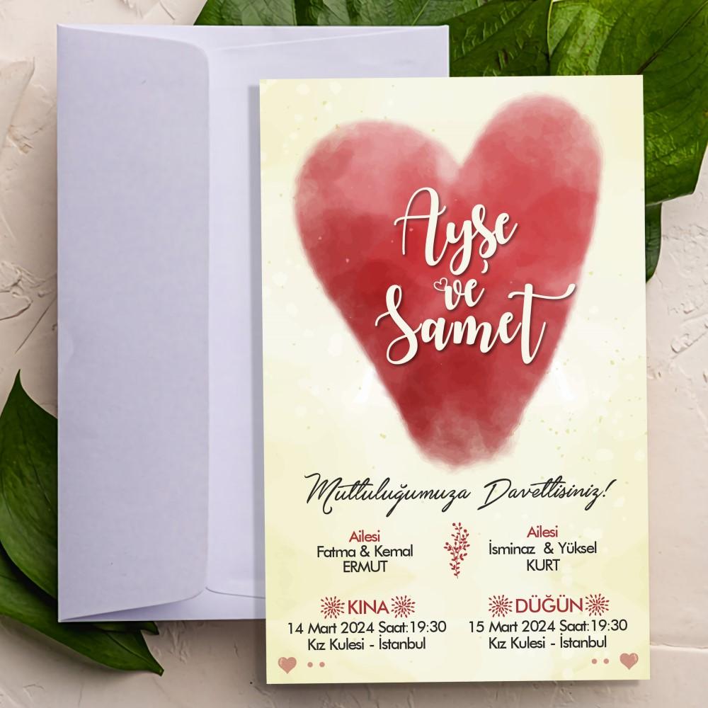 Bulut Kalp Düğün Davetiyesi