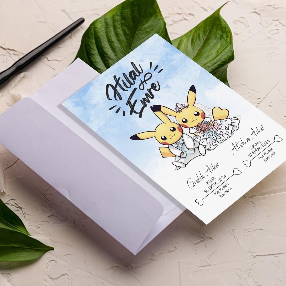 Pikachu Pokemon Davetiye