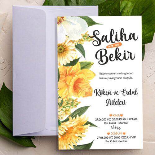 Sarı Çiçek Düğün Nişan Davetiyesi